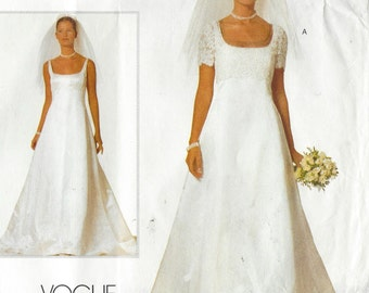 90s Bellville Sassoon Vogue Bridal Pattern 2085 Womens Bridal Gown and Jacket Size 12 14 Bust 34 36 Wedding Dress with or Without Train