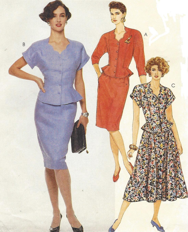 80s womens two piece dress retro peplum top  u0026 skirt mccalls