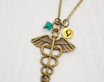 personalized medical charm necklace, caduceus necklace, bridesmaid, doctor gift, nurse gift, thank you gift, best friend gift, med student
