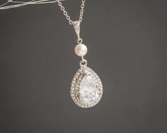 Pearl Bridal Necklace, Crystal Wedding Necklace, Teardrop Pendant Necklace, Swarovski Drop Sterling Silver Necklace, Art Deco Jewelry,ADAMIA