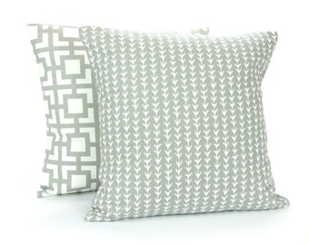 Gray Decorative Throw Pillow COVER Gray White Vine Cushion Pair of Couch Sofa Pillow Bedding Euro Sham Home Decor Grey Accent Pillow 3 Sizes
