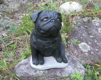 Pug Statue, Concrete Black Pug, Cement Dog Figure, Cast Stone Pugs For Home Or Garden, Pet Memorial, Dog Statue, Garden Statues, Cement.