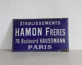 Rare Antique French Enamel Parisian Sign