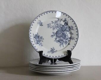 Antique French Transferware Blue Flore Plates Sarreguemines Set of 6