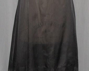 "Vintage 1950s Half Slip Black Nylon Crepe Tailored Zipper Back A Line 24"" Waist Lace Trim Boho Lingerie 1950s Fashions Sm"