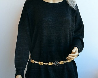 Black graphite silk sweater, loose knit, Grunge oversized, loose knit boho sweater READY TO SHIP!