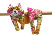 Flat Cat, Hot Cold Rice Bag, Microwave Neck Wrap, Rice Heating Pad, Hot Cold Therapy Pack, Pink Yellow Orange Green Iris Flowers #3