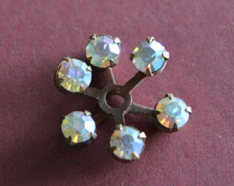 2 Vintage Brass and Rhinestone Finding