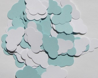 100 pcs. Blue and White Cloud Confetti, Scrapbooking, Embellishments