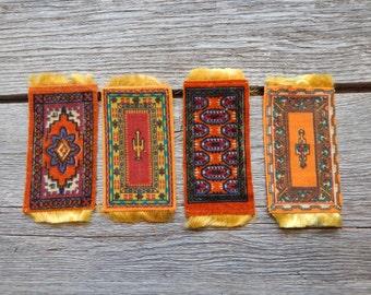 Set of four golden tobacco felts carpets