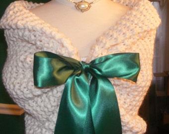 Wedding Shawl/Wedding Shrug/Christmas Wedding/Knit Shawl/Ivory Shawl/Winter Wedding/Bridal Wrap/St.Patrick's Day/St.Paddy's Day/Bridal Wrap