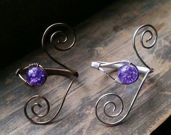 Purple Crackle Adjustable Wire Wrapped Ring Finger Wrap
