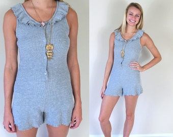 vintage 80s/90s gray WAFFLE KNIT ROMPER ruffle xs/Small Victoria's Secret onesie jumpsuit retro indie grunge hipster