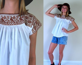 vtg 70s BROWN BIRDS embroidered Mexican TUNIC Small ethnic Oaxacan blouse top shirt boho hippie babydoll festival