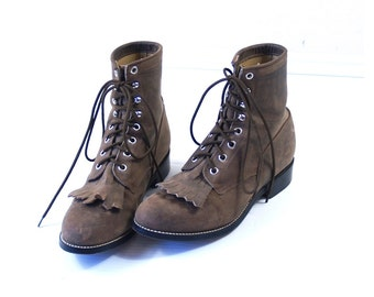 vtg 80s Fawn BROWN lace up ROPER BOOTS fringe 6 leather grunge western cowboy motorcycle punk
