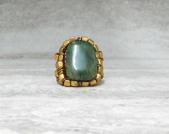 Cocktail Ring in Green Aventurine & Gold (Size 6 or 6.5)- Holiday Gifts Under 50 For Her 3853R