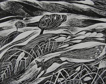 The peafox, original print by Flora McLachlan, card cut, relief print, fox running, hills, moor, peacock, fox
