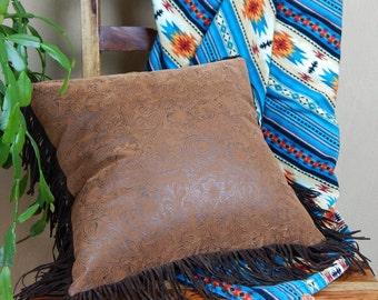 Western Leather Pillow with Fringe- western pillow with tooled leather and full fringe