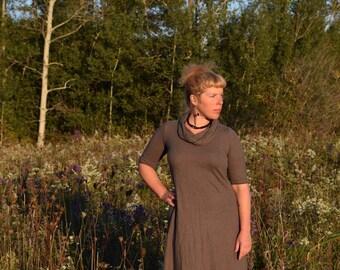 Hemp/organic cotton knit Luna Dress (elbow length sleeve, asymmetrical hem, cowl neck, fairy dress)