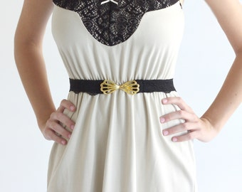 Black waist belt with gold butterfly buckle lace belt