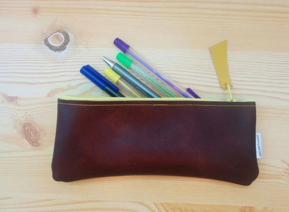 Leather pencil case, leather pencilcase, leather pouch, brown leather, brown pencil case, leather case,leather brown,yellow pencil case