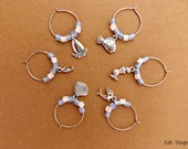 Nautical #1 Set of 6 Wine Glass Charms Silvertone with Frosted Glass in Sea Color Ocean Inspired Fish Shell Mermaid Mermaid Dolphin Seahorse