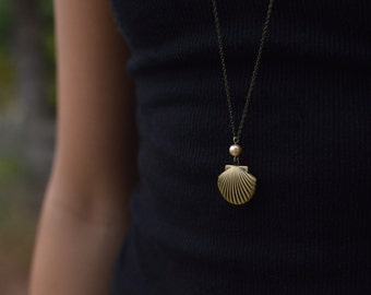 Seashell & Pearl Locket - Antique Bronze Brass Necklace Glass Pearl Shell