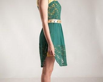 Green dress, emerald green dress, lace dress, green and yellow dress, sleeveless dress, unique dress, handmade dress, chiffon dress