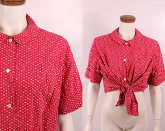 Vitnage 60s 70s - Red & White - Novelty Print Polka Dot Hearts Daisey Flowers - Button Up Collar Short Sleeve - Cotton Top Shirt