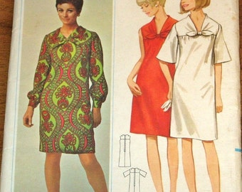 Vintage 1960s Sewing Pattern Butterick 4481, Mod Empire Bodice Tie Yoke Bell Sleeve Sheath Dress, Women's Misses Bust 34 Uncut Factory Folds