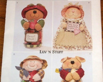 Butterick 3986 Treat Jar Doll Covers, Bear Cat Pig Dog, Fits Wide Mouth Mason Pints, Luv N Stuff Crafts Sewing Pattern Uncut Factory Folds
