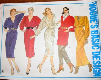 Vintage 1980s Sewing Pattern Vogue Basic Design 2237, Boho Caftan Dress, V Neck Tunic Top Womens Misses Size 8 Bust 31 Uncut Factory Fold