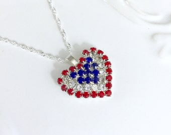 American Pride Red White and Blue Necklace July Birthday Gift Idea  Heart Necklace Patriotic Jewelry