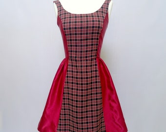Red Plaid Dress - 50s Style - Plaid Dress - FREE SHIPPING