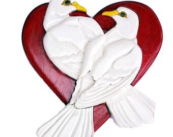 Love birds - Doves on a heart.  3d woodwork, intarsia