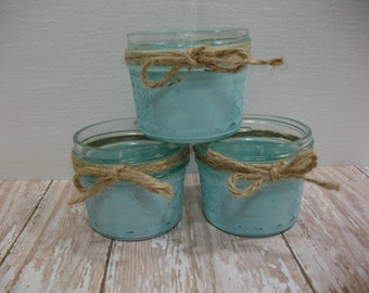 Mason Jars / Blue Milk Painted Jelly Mason Jars / Catch All Containers / Distressed Milk Paint Reclaimed Jelly Jars / Decorative Jars