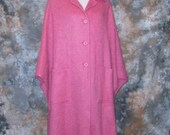 60s Plus Size Pink Cape Bright Pink Cape Long Wool Cape Pink Cape 1960s Fall Cape Pink Wool Cape Cape Virgin Wool Cape Large Pink Cape