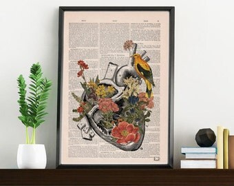 Summer Sale Flowery Heart with bird. Anatomy Print - digital,Anatomy art, love wall art, human science & anatomy art SKA110