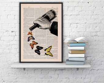 Summer Sale Butterflies and Wine bottle collage - Upcycled dictionary book print book art print BFL087b