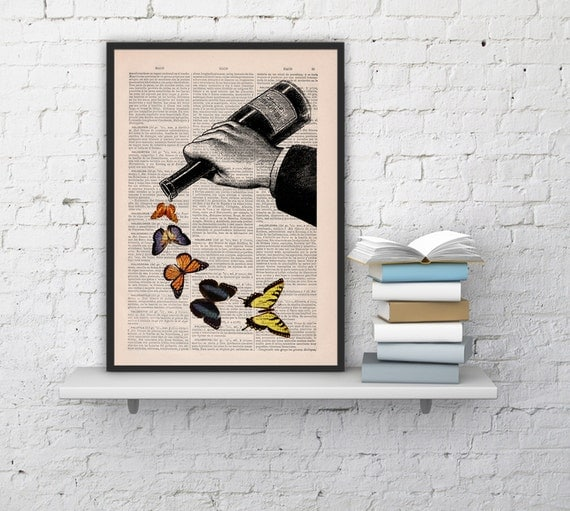 Book art print - Butterflies and Wine bottle collage - Upcycled dictionary book print BPBB087b