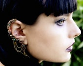 Indian Bollywood Earrings - Brass Ear Cuff With Garnet And Green Onyx Gemstones - Indian Bridal Jewelry
