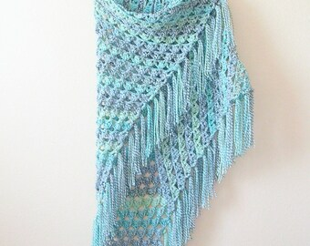 Crochet Shawl - Handmade Large Blue Fringed Shawl - Shawl Wrap - Boho Clothing
