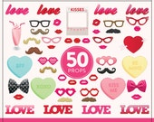 Printable Valentines Photo Booth Props | 50 Printable Valentines Props | Instant Download | Valentines Photo-Booth Clipart