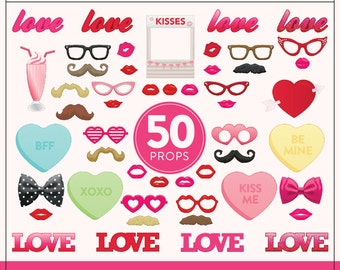 Printable Valentines Photo Booth Props | 50 Valentines Props | Instant Download | Kissing Booth Prop
