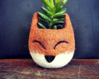 Succulent planter / Fox head planter / cactus pot / kitsune vase/ Spring gift / Fox lover gift / gift for her