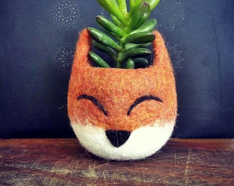 Small planter, Succulent planter, Animal planter, Fox planter, cactus pot, kitsune vase, mini planter, Fox lover gift, gift for her