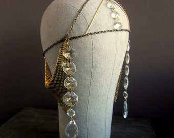 EGYPTIAN REVIVAL Art Deco Headpiece - Chain Headdress - Bridal Hair Chain