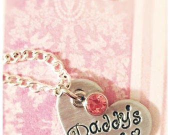 Daddy's Girl Necklace - Daddys Girl - Fathers Day Gift - Daddy's Girl - Birthstone Jewelry - Gift for Dad - Baby Shower Gift - Fathers Day