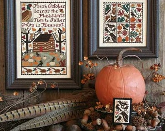 October Book No. 164 : Prairie Schooler cross stitch patterns Halloween falling leaves pheasant raven crow counted hand embroidery