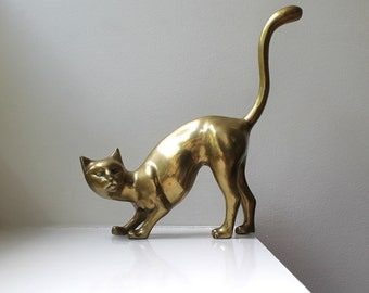 Vintage Large Brass Cat Figurine Mid Century Decor
